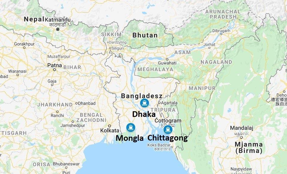 Transport z Bangladeszu - porty