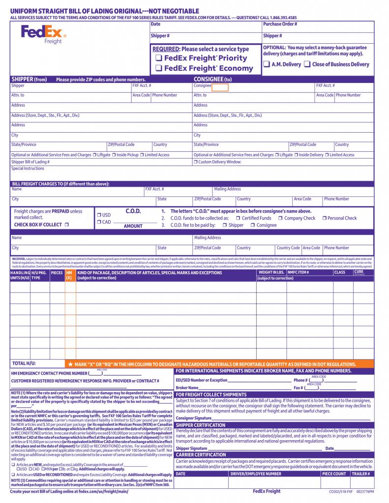 Konosament bill of lading
