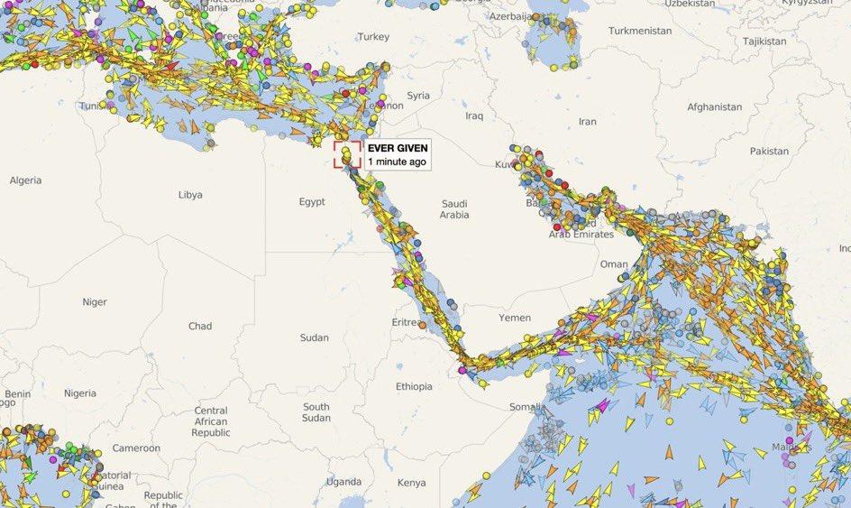 Kanał Sueski - mapa