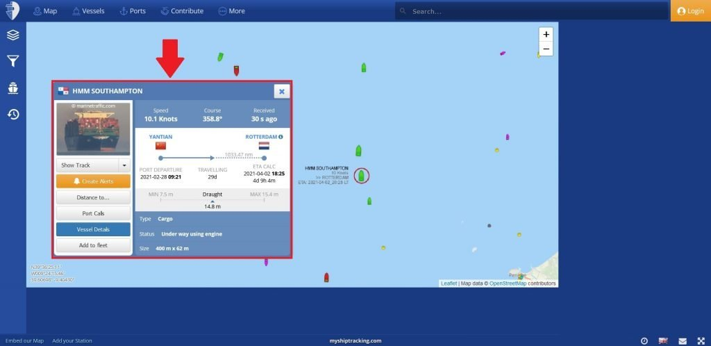 My Ship Tracking - wyszukiwanie