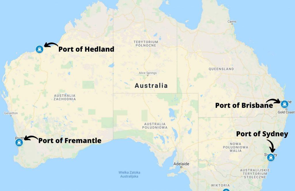 Główne porty morskie cargo w Australii