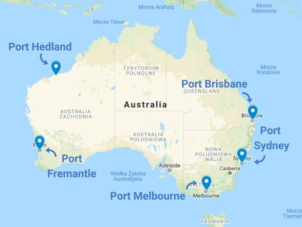 Porty morskie w Australii - mapa
