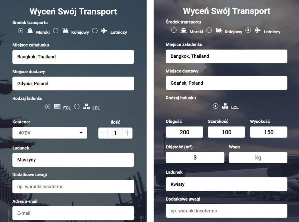 Transport z Tajlandii - Koszt transportu