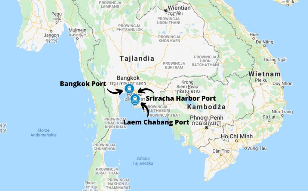 Główne porty morskie cargo w Tajlandii
