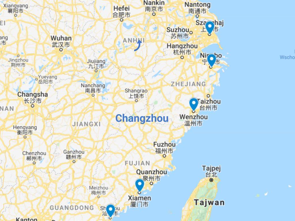 Transport z Chin porty
