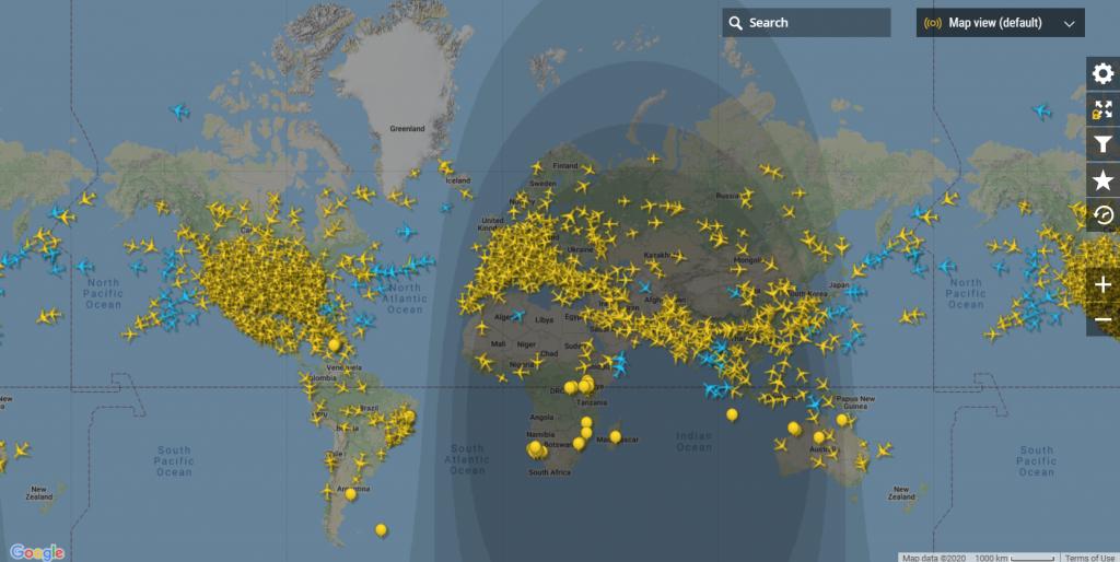 Transport lotniczy - mapa