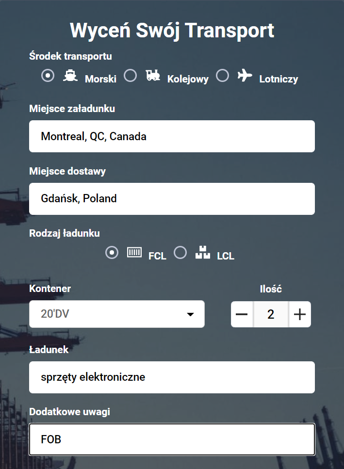 Transport z Kanady zapytanie ofertowe
