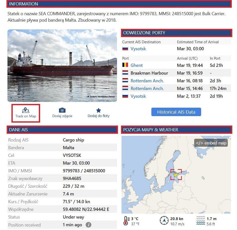 Vessel Finder - informacje