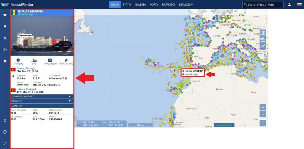 Vessel Finder - mapa